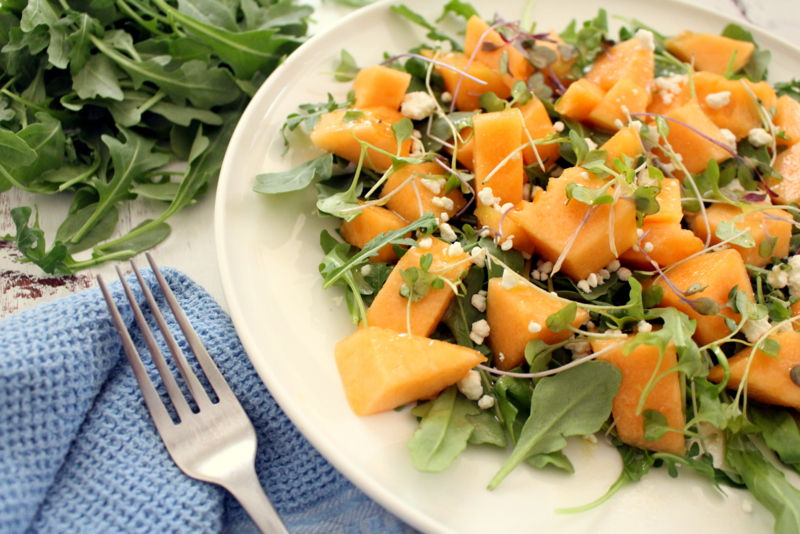 Arugula, Cantaloupe and Goat Cheese Salad with Microgreens