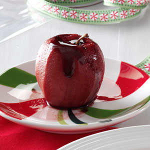 Mulled Wine-Poached Apples