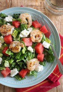 Grilled Shrimp Salad with Feta and Watermelon