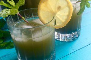 Honey-Sweetened Mint Wheatgrass Lemonade