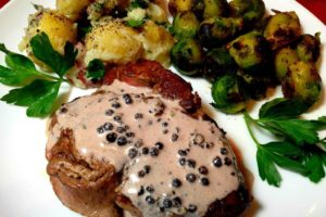 Steak with Red Wine Peppercorn Sauce