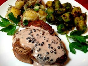 Steak with Red Wine Peppercorn Sauce LG